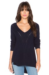 Autumn Cashmere Hi Lo Cable V Neck Sweater Navy