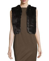 Badgley Mischka Faux Fur Lace Back Cropped Vest Black