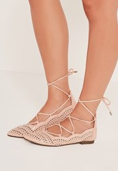Missguided Laser Cut Patent Flat Shoes Nude