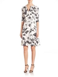 Naeem Khan Three Quarter Sleeve Floral Jacquard Dress Black White