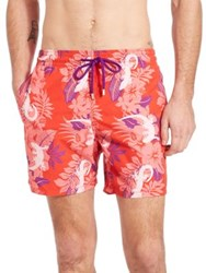 Vilebrequin Moorea Gecko Print Swim Trunks Purple Red