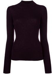 Roberto Collina High Neck Ribbed Jumper Pink Purple