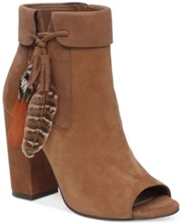 Jessica Simpson Kailey Feather Detail Peep Toe Block Heel Booties Women's Shoes Canela Brown