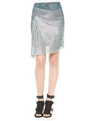 Iro Metallic Mesh Knit Hook Skirt Silver Green