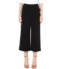Karen Millen Wide High Rise Cropped Crepe Trousers Black