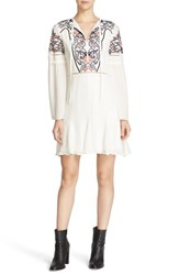 Parker Women's 'Milly' Embroidered Silk Shift Dress Ivory