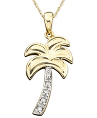 Macy's Diamond Accent Palm Tree Charm Pendant Necklace In 14K Gold