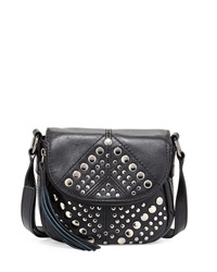 Isabella Fiore Bellmore Studded Leather Crossbody Bag Black