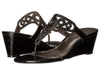 Adrianna Papell Ceci Black Lacquer Cork Women's Wedge Shoes