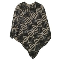 Chesca Cable Knit Poncho Black Beige