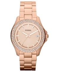 Fossil Women's Retro Traveler Rose Gold Tone Stainless Steel Bracelet Watch 36Mm Am4454
