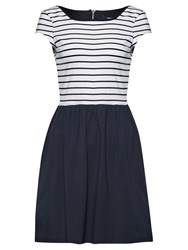 French Connection Eso County Stripe Dress White Utility Blue