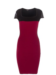 Morgan Leather Look Panel Pencil Dress Red