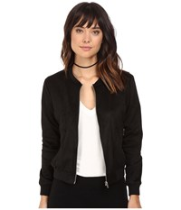 Bb Dakota Finley Soft Faux Suede Bomber Black Women's Coat