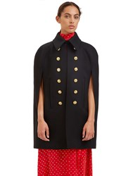 Saint Laurent Military Cape Coat Black