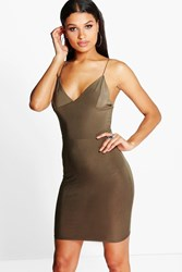 Boohoo Plunge Neck Bodycon Dress Khaki