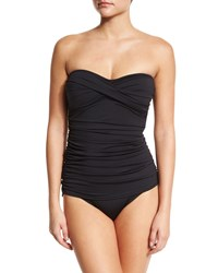 Tommy Bahama Shirred Twist Front One Piece Swimsuit Black