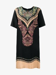 Etro Paisley Print Silk Shift Dress Multi Coloured Black