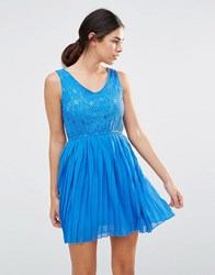 Pussycat London Dress With Lace Top And Pleated Skirt Blue