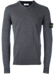 Stone Island Logo Patch V Neck Jumper Grey