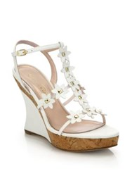 Oscar De La Renta Floral Laser Cut Leather Wedge Sandals