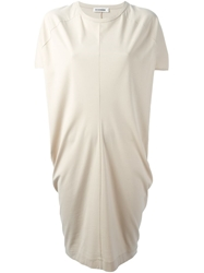 Jil Sander Draped Cocoon Dress Nude And Neutrals