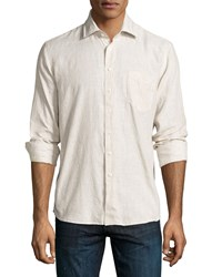 Neiman Marcus Linen Long Sleeve Fine Striped Sport Shirt Grain