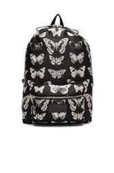 Alexander Mcqueen Victorian Moth Backpack In Black Animal Print Black Animal Print