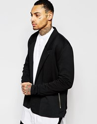 Asos Oversized Jersey Blazer With Woven Panels And Zips Black