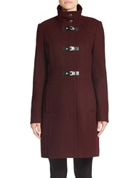 Kenneth Cole Reaction Wool Blend Toggle Coat Rum Raisin