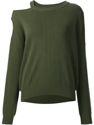 Nomia Cut Out Shoulder Sweatshirt Green