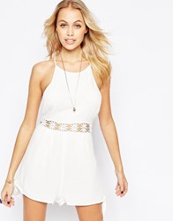 Kiss The Sky Heart And Soul Playsuit With Crochet Waist Cream White