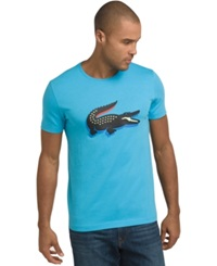 Lacoste Big And Tall '3D' Rubber Crocodile Graphic T Shirt Quantum Blue Jonquil Yellow