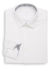 Bugatchi Shaped Fit Floral Trim Cotton Dress Shirt White