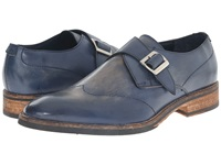Messico Alejandro Navy Vintage Leather Men's Flat Shoes Blue