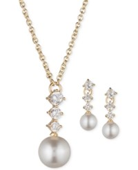 Anne Klein Gold Tone Imitation Pearl Cubic Zirconia Pendant Necklace And Drop Earrings Set