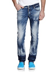 Maison Martin Margiela Bleached And Painted Slim Fit Jeans Blue