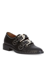 Givenchy Elegant Studded Leather Monk Strap Loafers Black