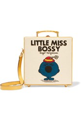 Olympia Le Tan Little Miss Bossy Appliqued Cotton Faille Shoulder Bag Cream