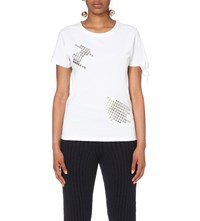 J.W.Anderson Jw Anderson Stud Embellished Cotton Jersey T Shirt White