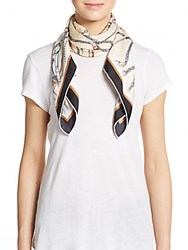 Saks Fifth Avenue Black Chain Print Silk Scarf Neutral
