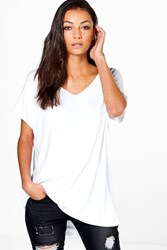 Boohoo Jasmine Oversized V Neck Basic Tee White