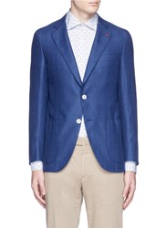 Isaia 'Sailor' Wool Silk Linen Blazer Blue