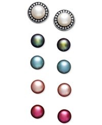 Honora Style Cultured Freshwater Pearl Interchangeable Earrings Set 7Mm In Sterling Silver White