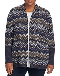 Nic And Zoe Plus Celestial Chevron Stripe Cardigan Multi