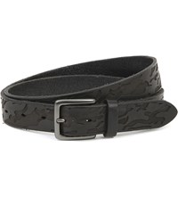 Andersons Camo Embossed Leather And Suede Belts Black