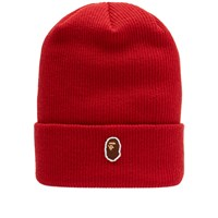 A Bathing Ape One Point Knit Cap Red
