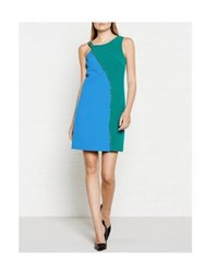 Versace Collection Colour Block Strapless Dress Green Blue