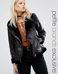 Glamorous Petite Faux Shearling Cost With Zip Detail Black