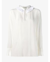 Fendi Silk Ruffle Collar Pleated Blouse White Cream